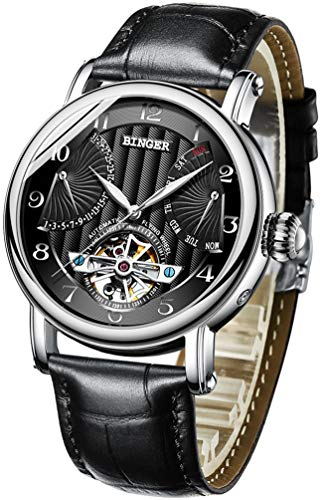 BINGER Men's Automatic Mechanical Wrist Watch with Leather Band (Black)