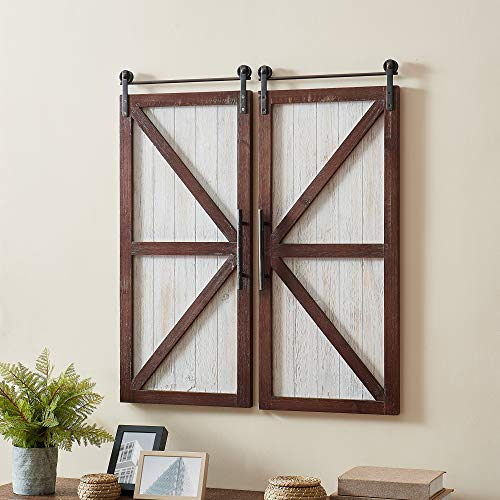 FirsTime & Co. Espresso Carriage Farmhouse Barn Door Wall Plaque 2-Piece Set, American Crafted, Aged White, 28 x 14 x 34 , , 28 inches