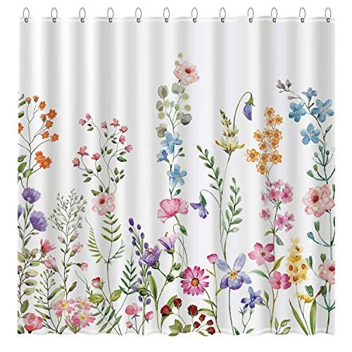 """Funnytree Floral Plant Watercolor Flower Shower Curtain Set with Hooks Bohemian Home Bathroom Bathtubs Decor Easy Care Waterproof Machine Washable Durable Polyester Fabric 72""""x72"""""""