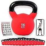 POWRX - Kettlebell Hierro Fundido 4-30 kg - Pesa Rusa con Revestimiento de Neopreno + PDF Workout (16 kg)