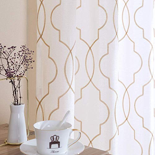 White 63 inch Long Curtains Living Room Moroccan Trellis Pattern Embroidered Design Grommet Top Bedroom Window Linen Textured Privacy Semi Sheer Curtain Drapes 2 Panels