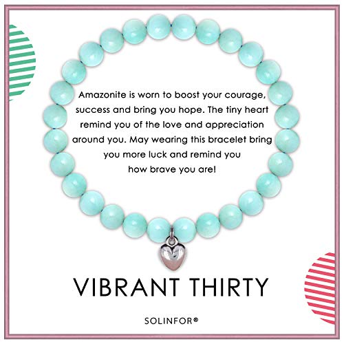 SOLINFOR 30th Birthday Gifts for Women - Amazonite Beads Bracelet - 30 Years Old Jewelry Gift Idea for Her
