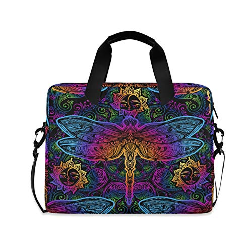 Indian Mandalas Dragonfly Laptop Shoulder Messenger Bag with Strap for 15.6 inch 16 inch Laptop Travel-Friendly Briefcase Notebook Computer Sleeve Case