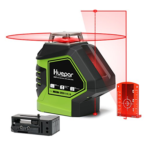Huepar Self-Leveling Laser Level Red Cross Line with 2 Plumb Dots Laser Tool -360-Degree Horizontal Line Plus Large Fan Angle of Vertical Beam with Up & Down Points -Magnetic Pivoting Base 621CR