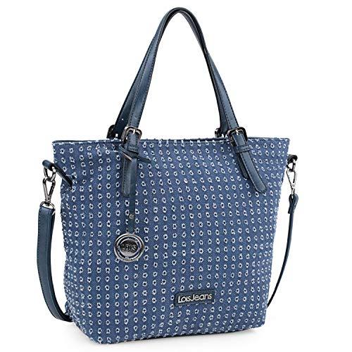 Lois - Bolso Grande Tipo Shopping de Mujer. 2 Asas Largas y Bandolera. Lona Estampada y Cuero PU. para Compras o Viaje. Diseño 306681, Color Azul