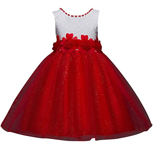 Bebés Niñas Vestido Floral De Tutú Princesa Traje De Fiesta Formal Elegante Para Boda Cumpleaños Festividades Rojo 110