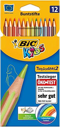 BIC Kids Tropicolors 2, 12 Kinder-Buntstifte, Ab 5 Jahre, Bruchsichere Mine & ohne Holz