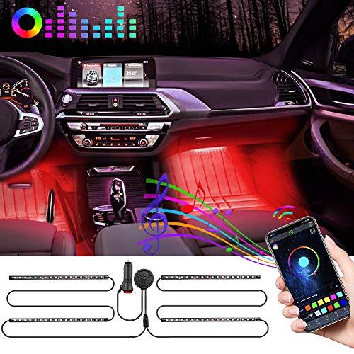 72LED Auto LED Innenbeleuchtung, Auto LED Strip,fußraumbeleuchtung Auto Bluetooth-Steuerung Wasserdicht RGB Auto Innenraumbeleuchtung mit APP,Mit Zigarettenanzünder und Mikrofon für iPhone Android