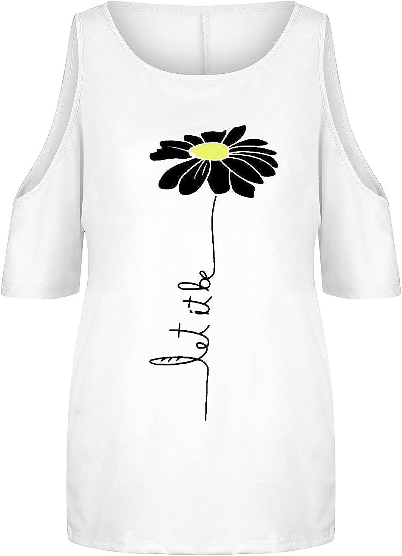 DAZqqc Women's Tops Casual Flower Printed Cold Shoulder Short Sleeve T-Shirt Blouse Tees