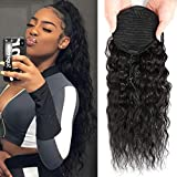 Corn Wave Ponytail Human Hair with Wrap Drawstring Corn Wave Human Hair Ponytail Hairpiece for Women Natural Black Color 100% Real Brazilian Hair Clip in Wavy Ponytail Hair Pieces 20 Inch