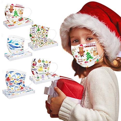Kids Disposable Face_Masks 50Pcs Halloween Kids Disposable Face_Mask Cute Cartoon 3 Ply Breathable Comfortable Earloop Childrens Christmas Face_Masks