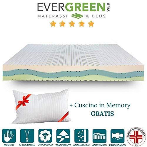 Evergreenweb matras voor eenpersoonsbed 80 x 190 cm, geheugenschuim, hoogte 20 cm, orthopedisch met medisch display, Waterfoam Air 7 zones tweepersoonsbed, overtrek afneembaar + gratis bed