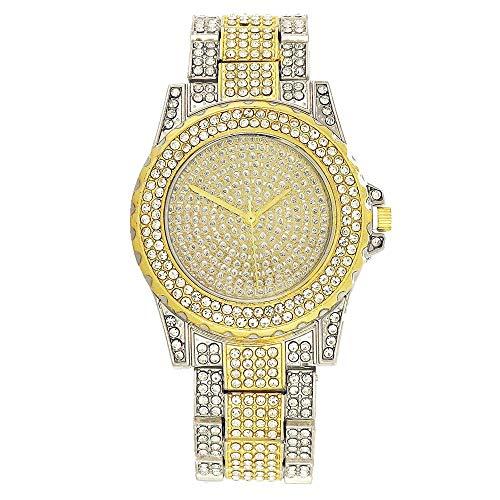 Damofy Reloj de Hip Hop para Mujer, Diamantes de imitación completos de Lujo, Bling, Reloj de Cuarzo Helado, Regalo empresarial, Relojes de Pulsera, Horas de Reloj, cumpleaños