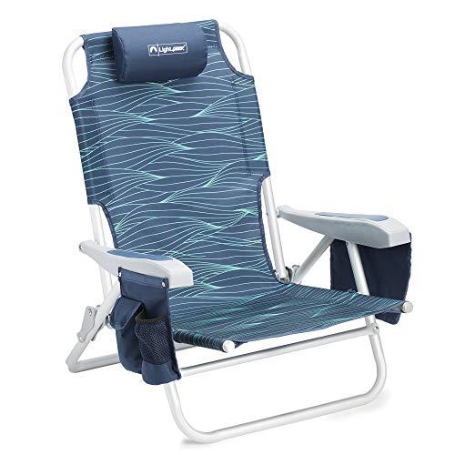 Lightspeed Outdoors Reclining Beach Chair   Lightweight Folding Chair (Blue Wave)