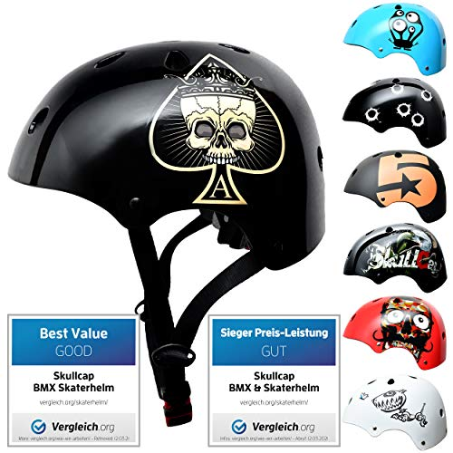 Skullcap® Skaterhelm Kinder Schwarz Ace of Spades - Fahrradhelm Jungen ab 6 Jahre Größe 53-55 cm - Scoot and Ride Helmet Kids - Skater Helm für BMX Scooter Inliner Fahrrad Skateboard Laufrad