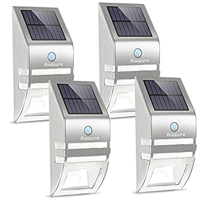Roopure Stainless Steel Solar Motion Sensor Lights Outdoor Decorative Solar Powered LED Accent Lights