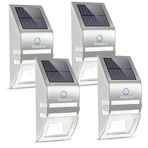 Roopure Fence Post Solar Lights, Outdoor Solar Wall Lights Motion Activated Solar Powered Security Light Waterproof for Paradise Fence Deck Stairs Yard Garden, Stainless Steel, 4 Pack