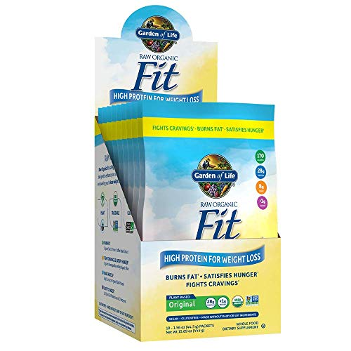 Garden of Life Raw Organic Fit Powder, Original - High Protein for Weight Loss (28g) plus Fiber & Probiotics, Organic & Non-GMO Vegan Nutritional Shake, Packets (10 Count Tray)