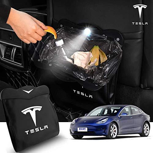 L&U Auto-Papierkorb-Rücksitz Müllbehälter Hanging Organizer Magnetschalter Wasserdichtes Papierkorb mit LED-Licht für Tesla Model 3
