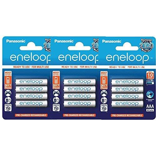 12 Panasonic Eneloop AAA BK-4MCCE/4BE 750 mAH Rechargeable Batteries