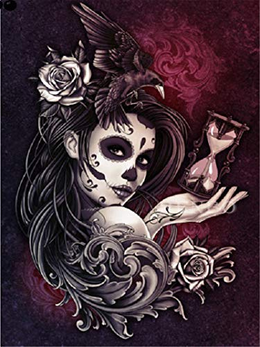 Paints by Numbers for Adult and Kids Skeleton face Painted Goth Girl for Adults and Kids DIY Oil Painting Gift Kits Pre-Printed Canvas Art Home Decoration 16x20 inch Frameless