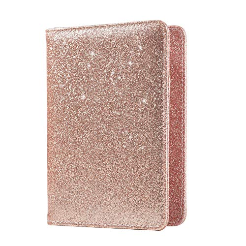 ACdream Leather RFID Blocking Wallet Case Bag for Travel Passport Holder, Rose Gold Glitter
