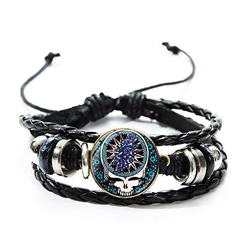 Generies Rock Band Grateful Armband Gothic Musik Schädel Bild Glas Kuppel Wickeln Leder Armband Herren Armband Zubehör