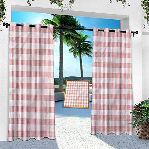 Aishare Store Outdoor Porch Curtains Waterproof, Checkered,Countryside Picnic, W 100' x L 95' Outdoor Blackout Curtains for Patio Thermal Insulated Drapery for Deck/Balcony(1 Panel)