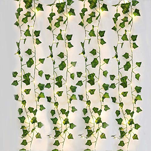 4 Piezas Hiedra Artificial, 2M Guirnalda Vines con 20 Luces LED, Planta Hojas de Vid Colgante, Enredadera Hojas Verdes para Jardín, Patio, Escalera, Interior y Exterior Decoración
