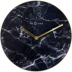 NEXTIME Marble Wall Clock, Decorative, Glass, Black, 15.75 Diameter, Battery Operated
