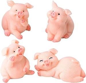 4pcs cerdo figura de resina Estatua animal paisaje en miniatura Bonsai ornamento decorativo Resina Artesanía