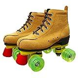 Patines de ruedas de polea de doble hilera para adultos Patines de doble hilera para principiantes Cuatro patines Flash de patinaje sobre ruedas para hombres y mujeres ( Color : Yellow , tamaño : 34 )