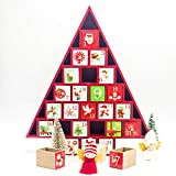 KINGEE Reutilizable Navidad Calendario De Adviento Madera con 24 Cajones De Almacenamiento para Llenar, Calendario De Bricolaje Natividad para Decoración De Casas - Niños con Espera Interesante,Rojo