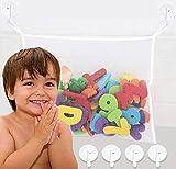 Bath Toy Holder, Extra Durable Washable Bath Toy Storage, Bathtub Toy Holder Basket with 4 Suction Cups, Mesh Bath Toy Organizer for Tub, Baby Bath Toy Holders for The Tub, Bath Toy Net Caddy Bag