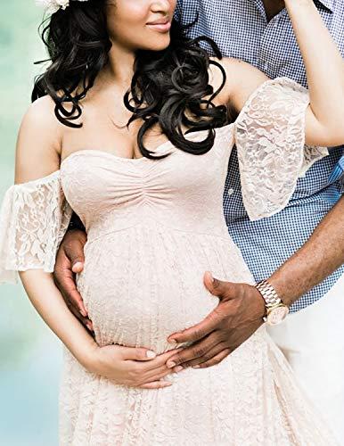 BUOYDM Mujer Vestido Embarazada de Fiesta Largos Foto Shoot Dress Fotográficas de Maternidad Apoyos De Fotografía Blanco S