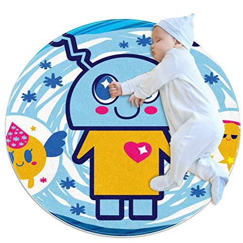 Divertida alfombra de robot de dibujos animados para el piso del bebé, manta de juego para la decoración de la habitación de los niños para las niñas de la sala de estar de la cama