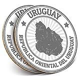 Posavasos redondos de vinilo de Destination Ltd (juego de 2) BW – mapa de Uruguay viajes turísticos bebida brillante protección de mesa para cualquier tipo de mesa #39984