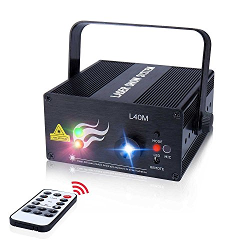 New Laser Light 40 Patterns LED Projector DJ Gear Stage Lighting Red and Green Show With Blue Auto S...