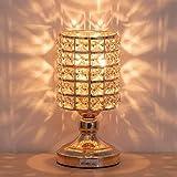 lámpara de mesa moderna, Lámpara de mesilla de cristal luz nocturna K9 cristal con marco de metal Lámpara de mesa para dormitorio, sala de estar, comedor, forma cilíndrica