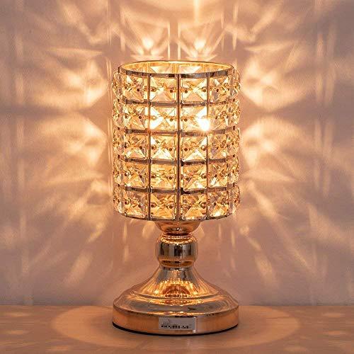 Kristall Nachttischlampe Modernes Nachtlicht K9 Kristallglas mit Metallrahmen Tischlampe für Schlafzimmer, Wohnzimmer, Esszimmer, Zylindrisch Form