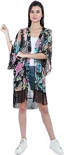 Marigold Women Floral Print Multicolor Sheer Kimono Dress Blue
