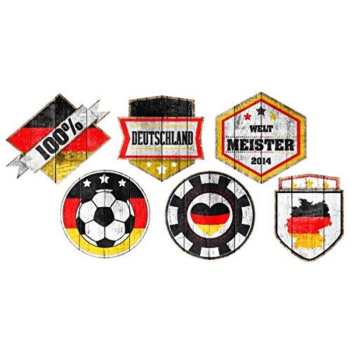 Apalis Fenstersticker Fensterfolie Fußball Holz Buttons Sticker Set HxB: 50 x 25cm