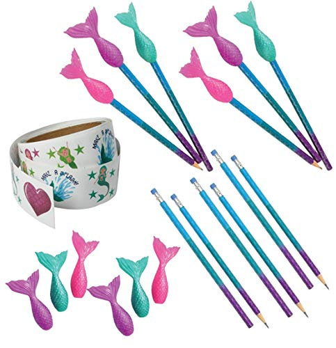 25 Piece Mermaid Glitter Stickers, Pencils & Toppers Bundle Pack for Kids
