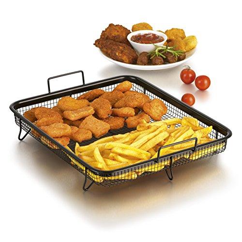 GOURMETmaxx Backofen Edelstahl-Grillkorb | Grillgitter, Grillblech, für fettarmes Heißluft-Garen im Ofen (Grillkorb)