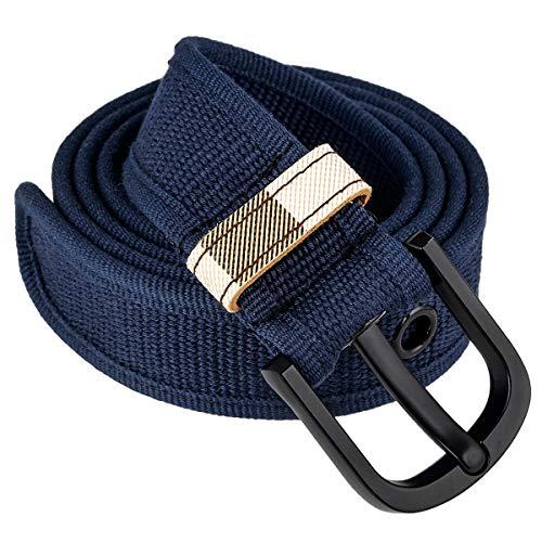 KYEYGWO Unisex Canvas Gürtel mit Schwarze Dornschließe, Einstellbare Segeltuch Stoffgürtel Freizeitgürtel Leinwand-Gürtel für Jeans Hosen Kleid, Blau