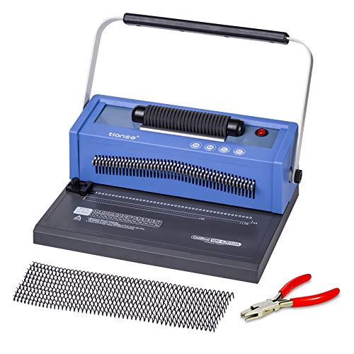 TIANSE Spiral Coil Binding Machine, Manual Book Punch Binder with Electric Coil Inserter, Disengaging pins, Adjustable Side Margin, Comes with 100pcs 3/8