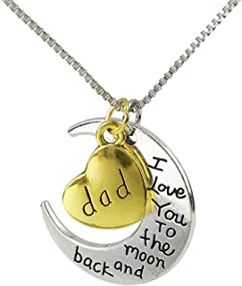 CHOP MALL Beloved I Love Dad Necklace Carving I Love You to the Moon and Back Moon Heart Pendant Chain Necklace for Men Dad/Father's Day/Grandfather Birthday/Anniversary Gift