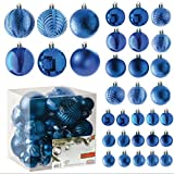 Blue Christmas Ball Ornaments for Christams Decorations - 36 Pieces Xmas Tree Shatterproof Ornaments with Hanging Loop for Holiday and Party Deocation (Combo of 6 Styles in 3 Sizes)
