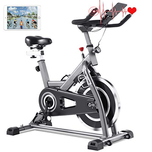 FUNMILY Indoor Cycling Bike - Stationary Exercise Bikes with Comfortable Adjustable Seat Cushion & LCD Monitor for Cardio Home Workout, 49 LBS Flywheel