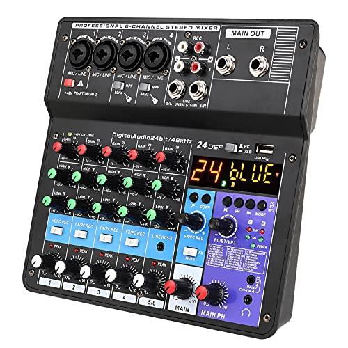 JUSTGJS Placa mezcladora de Sonido, Mezclador de Audio inalámbrico de 6 Canales Consola mezcladora de Sonido portátil Interfaz USB Entrada de computadora para transmisión en Vivo, grabación y Juegos